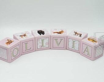 Baby Name Blocks - Nursery Name Blocks - Girls Name Blocks - Baby Shower Gift, Woodland Animals - Pink name blocks - Keepsake