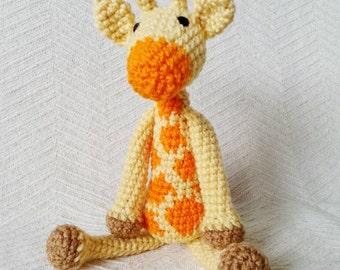 Giraffe Baby Rattle/ Crochet Giraffe/ Stuffed Animals for babies/ Amigurumi Giraffe/ Stuffed Baby Toys/ Baby Shower Gift/ Crochet Animal