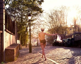 Fine art photography unusual montmartre Paris photography nude sunset woman lingerie panties