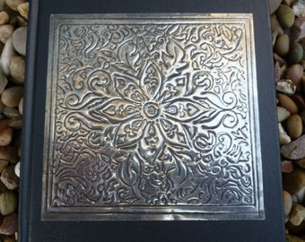 Hand Embossed Pewter Floral Journal