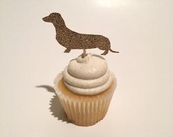 Wiener Dog Cupcake Topper