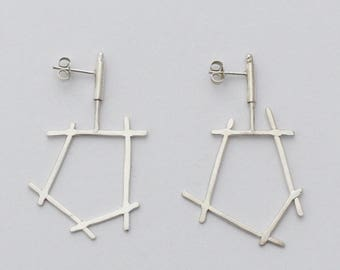 Line Work Swivel Earrings