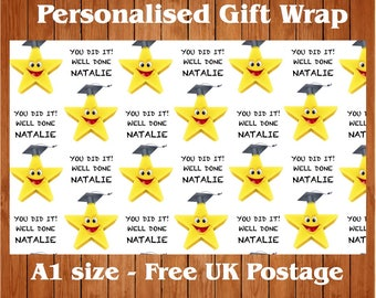 Personalised Graduation Wrapping Paper & 2 tags