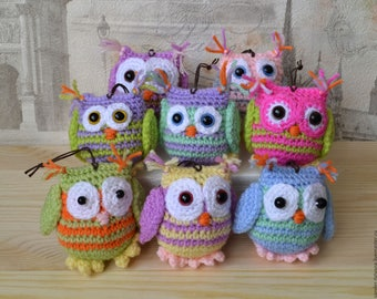 Owls crocheted, colorful, handmade toys