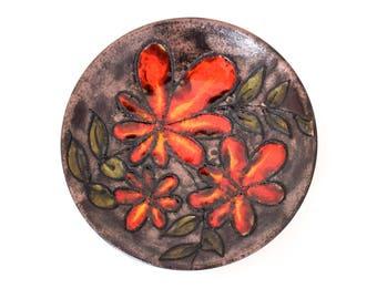 Ruscha fat lava ceramic wall plate wall plate plate 60s flowers Orange earth tones vintage