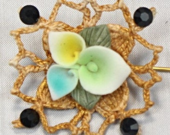 Handmade Victorian Inspired Gold Crochet Motif Brooch Stick Pin With Ceramic Flower