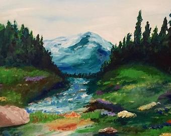 Mountains Calling - 24 x 18 Acrylic Painting Original