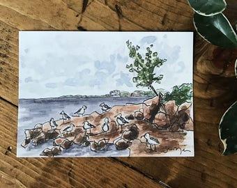 ORIGINAL WATERCOLOR PRINT - Brighton Beach Print - Seagull - Seascape - Duluth Minnesota - Watercolor Painting - Lake Superior