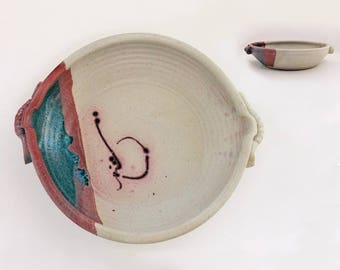 Handmade and Signed Vintage Pottery Bowl, Beige with Mauve Red and Teal, Matte Glaze