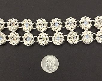 7 1/2 inch fine silver and Swarovski crystal Romanov bracelet.