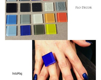 Geometric ring electric blue and in all colors in photos