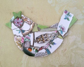 Mixed media mosaic bird