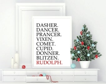 Printable Wall Art, Reindeer Names, Christmas, Home Decor, Instant Download