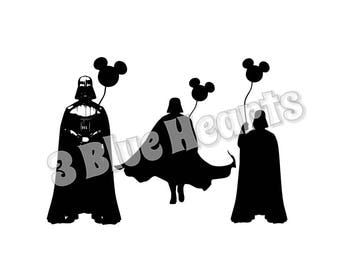 Darth Vader with Balloon svg studio dxf pdf jpg png