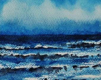 Sea Landscape, Watercolor Painting, Small Art Gift, Beach House Gift, Sea, Beach, Ocean, Blue Watercolor Watercolor Painting Watercolor, Wall Art
