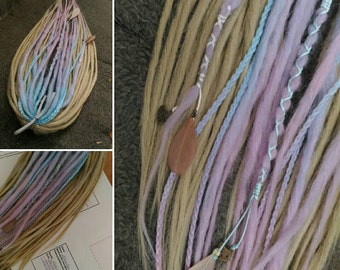 full set of synthetic double ended dreads, fairy dreads, blond dreads, soft dreads