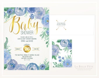WATERCOLOR FLORAL BABY shower invitation in blue and gold