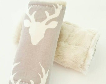 Deer Car Seat Strap Covers, Car Seat Straps, Gray and White, Faux Fur, Strap Covers, Rustic Car Seat, Woodland Baby Boy, Car seat boy
