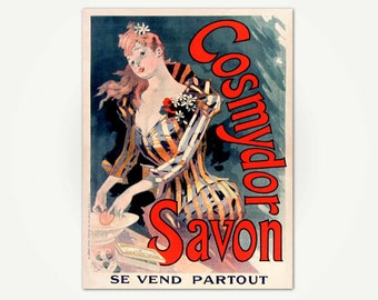 Cosmydor Savon Poster Print - Vintage Belle Epoch Poster Art -  Jules Cheret Poster Art Print