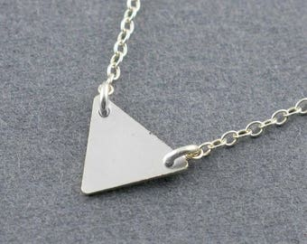 Modern Sterling Silver Triangle Pendant Necklace