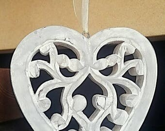 Hanging Heart, Heart Decoration, Filigree Heart, Filigree Hanging Heart, Carved Heart, Wooden Heart, Carved Wooden Heart, Handpainted, Grey