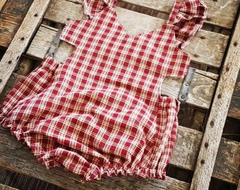 Violet Sunsuit in Red and Cream gingham