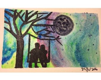 Galaxy painting, silhouette art, original watercolor painting,couple painting, original art, aurora borealis, art deco, 4x6 art