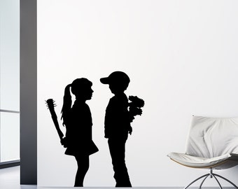 Boy Meets Girl Decal - Banksy Decal / Banksy Sticker / Banksy Wall Decal