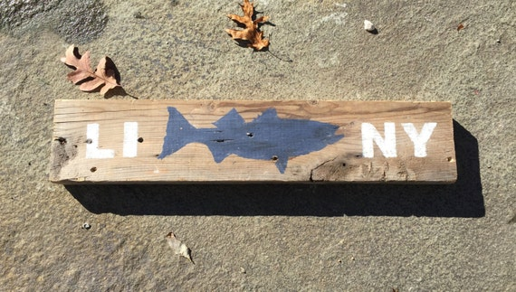 Long Island NY Striped Bass Fish Sign on Reclaimed Wood - Island NY Striped Bass Fish Sign On Reclaimed Wood