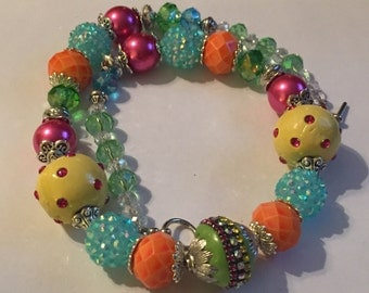 Chunky Handmade Yellow, Green, Pink and Orange Beaded Necklace