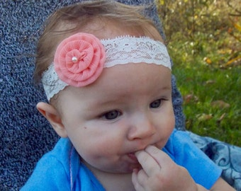 Pink Spiral Flower and Lace Baby Headband {Gracie}