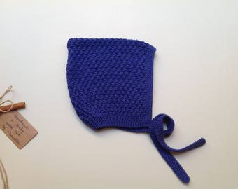 Cashmere/silk/cotton baby kid Pixie bonnet hat color blue cobalt,  handknitted, size 2-3 years