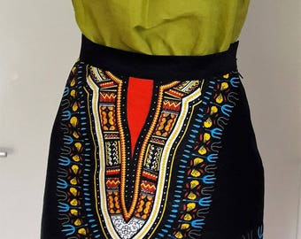 wax skirt slightly flared at the bottom. tunic also sold on the site