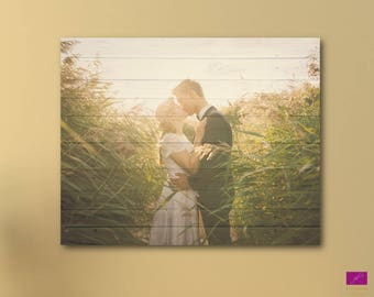 Your Photo on Canvas with wooden background, Custom Canvas Print, Photo canvas,Photo on wooden background,Rustic Photo print,any size canvas