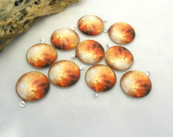 Sunburst - 20 mm Cabochons with Silver Plate Backs - Pack of 10 (1232 - M1)
