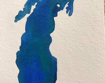 Lake Michigan Original Watercolor Painting--5x7