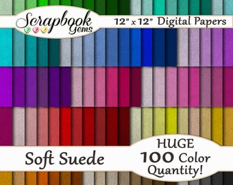 "100 Soft Suede Fabric Digital Papers, 100 Pieces, 12"" x 12"", 300 dpi High Quality JPEGs, Instant Download Colorful Multi-Color Mega Pack"