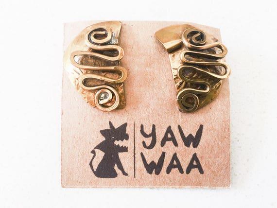 Stark Vintage Artsy Metal Earrings