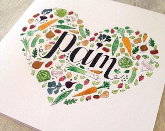 Gardener's birthday Card, Hand painted vegetable card, bespoke gardening card, custom mothers day card, personalised mothers day card,