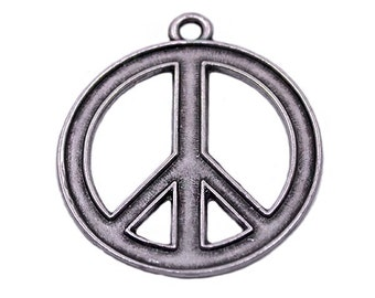 1 Silver Plated Peace Sign Charm | Peace Pendant, Silver Peace Pendant, Peace Jewelry, Peace Sign Pendant, Silver Peace, Big Peace Sign