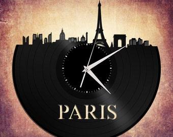 Paris Decor - Eiffel Tower Paris Clock,  French Wall Clock, Paris Clock, French Wall Decor, Unique Gift from Paris - Vinyl Record Clock