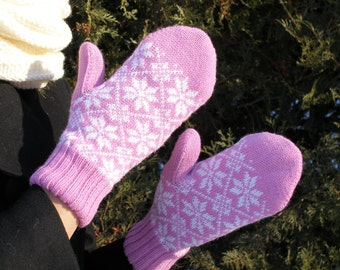 Hand knit mittens wool mittens pink mittens Nordic snowflakes warm mittens womens clothing mens mittens wool sweater mittens lined mittens