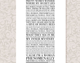 Phenomenal Woman by Maya Angelou (A4) print in 5 colours