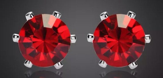 Red Crystal Stud Earrings Large size Bling Bling!