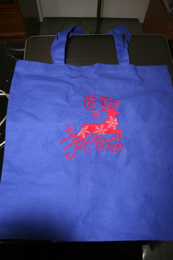 Cotton Totes with Embroidered Reindeer
