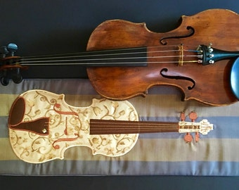 Brocade on silk, violin blanket in blue