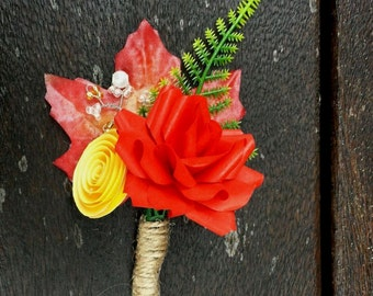 Red and Yellow Autumn Paper Flower Boutonniere