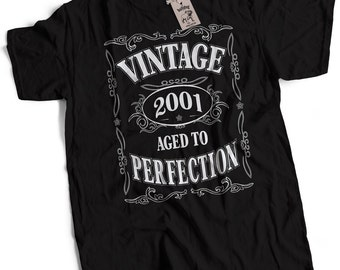 Vintage 2001 16th Birthday Gift T-Shirt S to 3XL 16th Birthday Gift For Men 16th Birthday Idea 2001 Birthday Gift Aged to Perfection Tee