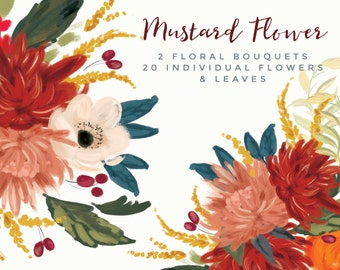 Hand Painted Flower Clipart - Mustard Flower.  Floral acrylic clipart.