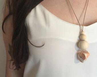 Handmade Beaded Necklace - Burnt Orange Large